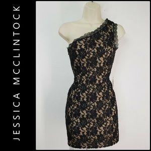 Jessica McClintock Women One Shoulder Black Dress